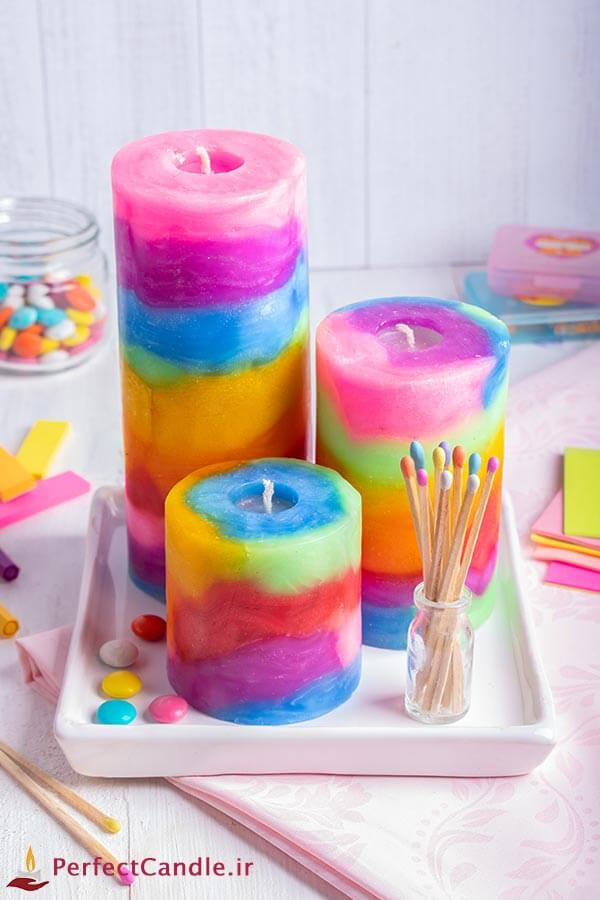 ست شمع استوانه رنگین کمان