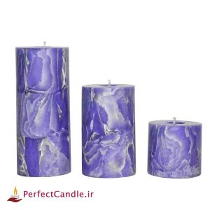 ست شمع استوانه بنفشه بهاری