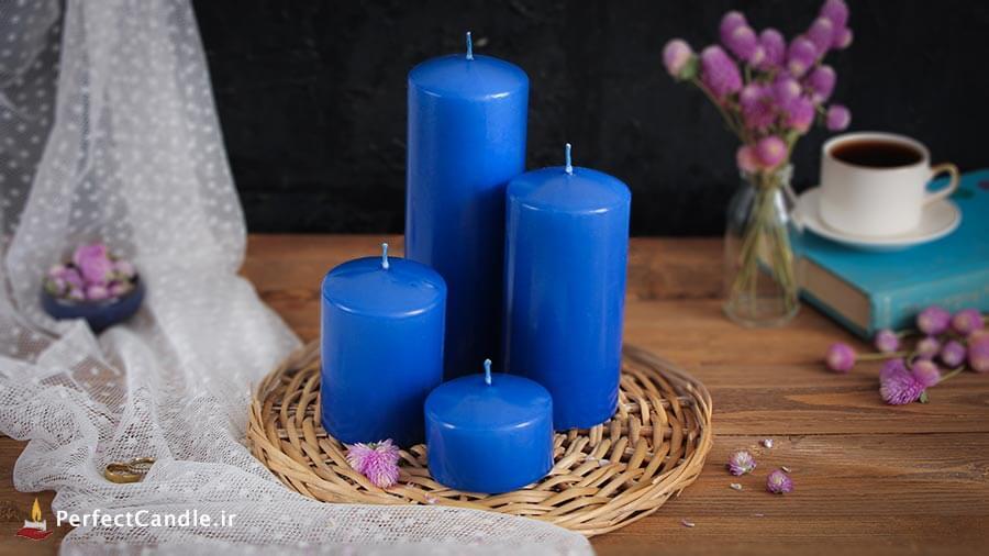 ست ۴ تایی شمع آبی کاربنی